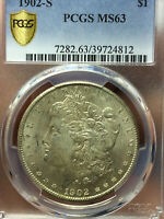 1902-S MORGAN PCGS MINT STATE 63 SILVER DOLLAR VAM 7 DOUBLED PROFILE/2 OLIVE REVERSE COIN