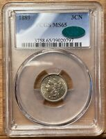 1889 3CN THREE CENT NICKEL PCGS MINT STATE 65 CAC