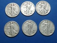 6 DIFFERENT EARLY S MINT WALKING LIBERTY HALVES,  1929 S - 1937,  SET EB50