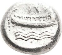 LANZ PHOENICIA ARADOS STATER DEITY GALLEY ROWERS WAVES SILVE