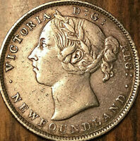 1899 NEWFOUNDLAND SILVER 20 CENTS COIN   HOOKED 99   EXCELLENT EXAMPLE