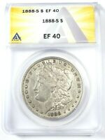 CIRCULATED BETTER DATE 1888-S MORGAN DOLLAR GRADED BY ANACS AS AN EF-40