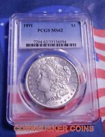 1891-P 1891 MORGAN SILVER DOLLAR PCGS MINT STATE 62 - BLAST WHITE GEM  PLUS FREE COIN
