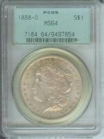 1888-O MORGAN SILVER DOLLAR S$1 PCGS MINT STATE 64 OBVERSE TONING OLD GREEN HOLDER OGH