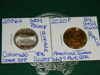 2006 S CLORADO 90  SILVER PROOF STATE QTR & 2020 P BAT GOLDE