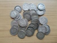 JOB LOT OF 50 OLD BRITISH SILVER THREE PENCE PIECES   ALL BE