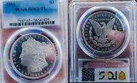 1886 PL MINT STATE 63 PLUS MORGAN SILVER DOLLAR   DEEP CAMEO MAJOR UNDER GRADING /