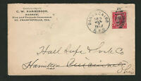 DANVILLE & CAIRO ILLINOIS 1903 RPO RAILROAD CANCEL ST. FRANC