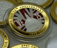 DUAL METAL VE DAY 75TH ANNIVERSARY SILVER & 24CT GOLD COMMEM