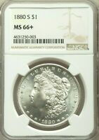 1880-S $1 MORGAN DOLLAR NGC MINT STATE 66 BEAUTIFUL WHITE MIGHT BE UNDER GRADED UPGRADE