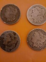 4 MORGAN SILVER DOLLARS 1881-S-1880-1891-0-1879 CULL COND.CLEAR DATES