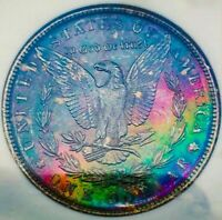 1886 MINT STATE 63 MORGAN SILVER DOLLAR  / VIBRANT RAINBOW TONING. OLD FATTY HOLDER. 003