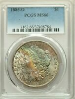 1885-O $1 MORGAN DOLLAR PCGS MINT STATE 66 - BEAUTIFUL COLORFUL RAINBOW UNIQUE TONING WOW