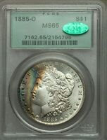 1885-O $1 MORGAN DOLLAR PCGS CAC MINT STATE 65 - OLD GREEN HOLDER COLORFUL RAINBOW TONING