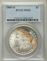 1885-O $1 MORGAN DOLLAR PCGS MINT STATE 62 - BEAUTIFUL COLORFUL RAINBOW UNIQUE TONING WOW