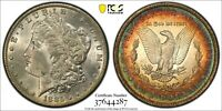 1885-O $1 MORGAN DOLLAR PCGS MINT STATE 62 COLORFUL RAINBOW OLD ROLL OR ALBUM TONING WOW