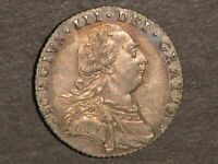 GREAT BRITAIN 1787 6 PENCE GEORGE III SILVER AU UNC