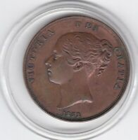 1853    QUEEN  VICTORIA  LARGE  PENNY  COPPER  COIN