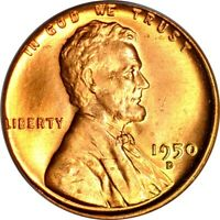1950-D 1C LINCOLN CENT PCGS MINT STATE 66RD