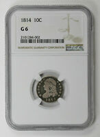 1814 P DIMES CAPPED BUST NGC G 6