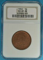 1850 BRAIDED HAIR LARGE CENT NGC MINT STATE 65RB-  EYE APPEAL, GEM EXAMPLE