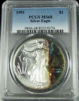 TONED 1991 SILVER EAGLE MINT STATE 68  PCGS