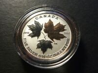 CANADA 2016 $2 SILVER MAPLE LEAF 1/10 OZ SINGLE FROM FRACTIONAL GOLD PLATED SET