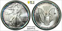 1991 AMERICAN SILVER EAGLE ASE PCGS MINT STATE 67 STUNNING RIM TARGET PCI RAINBOW TONED