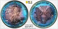 1993 AMERICAN SILVER EAGLE ASE PCGS MINT STATE 67 -  METALLIC VIBRANT RAINBOW TONING