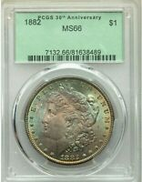 1882 $1 MORGAN DOLLAR PCGS MINT STATE 66 BEST OLD GREEN HOLDER COLORFUL RAINBOW TONING