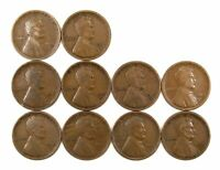 LOT OF 10 1916 D LINCOLN WHEAT CENT PENNIES F / F WITH LIGHT BLEMISHES 155350