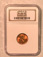 1948-D NGC MINT STATE 66 RD RED LINCOLN CENT IN OLD NGC HOLDER