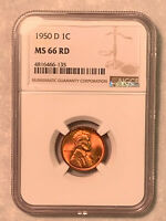1950-D NGC MINT STATE 66 RD RED LINCOLN CENT