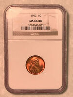 1952 NGC MINT STATE 66 RD RED LINCOLN CENT
