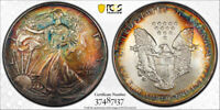 1993 AMERICAN SILVER EAGLE ASE PCGS MINT STATE 67 - UNIQUE COLORFUL RAINBOW TONING