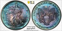 1993 AMERICAN SILVER EAGLE ASE PCGS MINT STATE 67 - BLUE METALLIC VIBRANT RAINBOW TONING