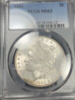 TONED REVERSE 1884 MORGAN SILVER DOLLAR MINT STATE 63 164