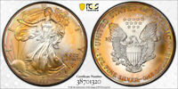 1999 AMERICAN SILVER EAGLE ASE PCGS MINT STATE 68   STUNNING UNIQUE PCI RAINBOW TONED