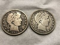 1893 AND 1909 S SILVER BARBER HALF DOLLARS
