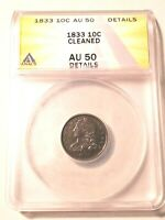 HIGH GRADE 1833 CAPPED BUST DIME GRADED BY ANACS AS AN AU-50 DETAILS-CLEANED