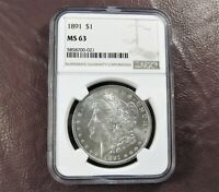 1891 MORGAN DOLLAR MINT STATE 63 NGC