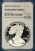 2003 PROOF AMERICAN SILVER EAGLE. NGC PF68 UCAM.  ET2379/UH