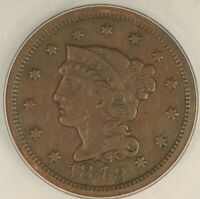 1848 BRAIDED HAIR LARGE CENT. NEWCOMB-11, ANACS EF DETAILS. SE12/BNQ