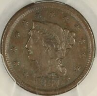 1851 BRAIDED HAIR LARGE CENT. NEWCOMB-18. PCGS EXTRA FINE  DETAILS. SE15/JLH