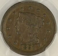 1851 BRAIDED HAIR LARGE CENT. NEWCOMB-17. PCGS EXTRA FINE  DETAILS. SE16/JLN