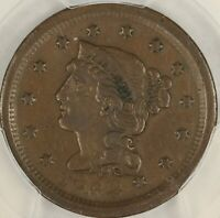 1852 BRAIDED HAIR LARGE CENT. NEWCOMB-18. PCGS VF DETAILS. SE17/JLN