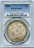 1884 MORGAN SILVER DOLLAR $1 PCGS MINT STATE 64