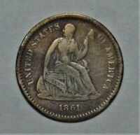 1861 SEATED LIBERTY HALF DIME   DECENT COIN   99C START