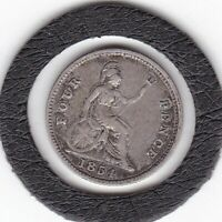 1854   QUEEN  VICTORIA    FOUR  PENCE  /  GROAT    4D   COIN   92.5  SILVER