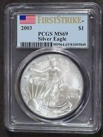 2003 ASE AMERICAN SILVER EAGLE FIRST STRIKE PCGS MINT STATE 69